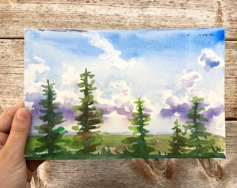 Watercolor pine trees // Lake house decor, forest landscape, scenic wall art, nature paint