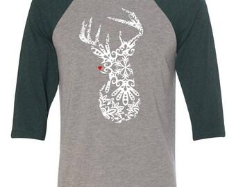 Stag Deer Raglan // Cute Christmas Shirt // Christmas Deer Raglan // Christmas Shirt // Christmas Top // Rudolph Shirt