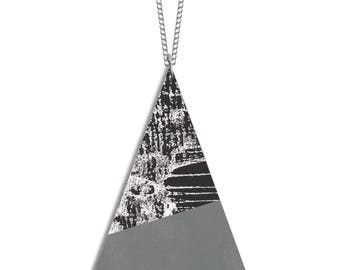 Hand printed Geometric Wood Etched Triangle Necklace with Silver Plated Chain