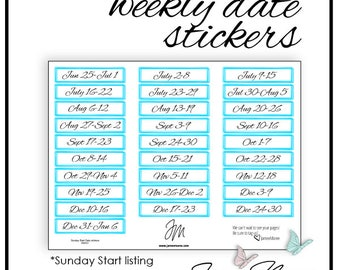 Weekly Date Stickers - Passion Planner Stickers, Sketch, Time Blocking, Color Coding, Bujo, Happy Planner, Erin Condren