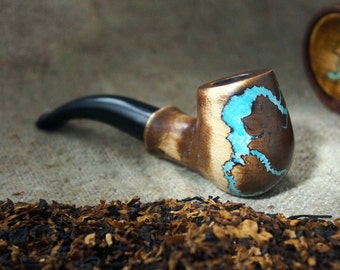 "Smoking pipe""Lightning ""with Turquoise -Mini Pipe-Tobacco smoking pipe -Pipe-Wooden pipe-Tobacco bowl - Wooden Pipes -Exclusive Wood Pipes"