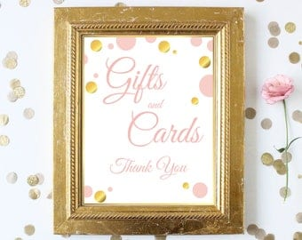 Gift Table Sign ~ Pink Gold Bridal Shower ~Polka Dot Shower ~ Party Printable Sign GldBridal20
