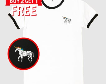 Unicorn Embroidered Ringer T-Shirt by 24PlanetsStudio