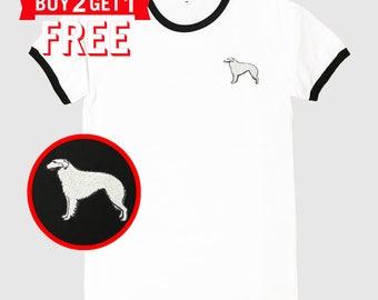 Borzoi Dog Embroidered Ringer T-Shirt by 24PlanetsStudio
