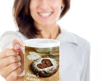 NANA'S HEART Cookie Coffee Mug! Lovely Plate of Nana's Cookies Family Food Fun  Coffee Cup! Hostess Gift Mug I Love Nana!