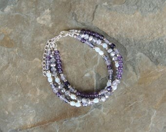 Layered Bracelet, Amethyst Bracelet, Gemstone Bracelet, Purple Bracelet for Women, Multistrand Bracelet, Hippie Bracelet, Stacking Bracelet