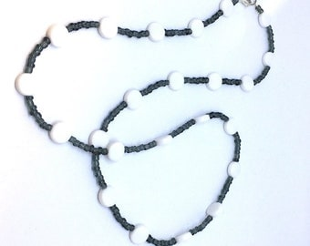Fashion beaded long necklace, black and white necklace, beaded jewelry for women, unique handmade beaded jewelry.