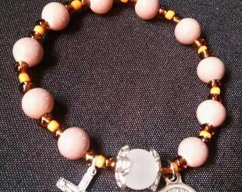 Rosary Stretch Bracelet - Taupe, St. Miximilian Kolbe