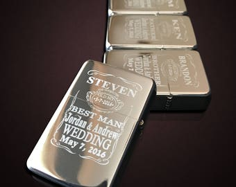 7 Engraved lighters - Custom engraved refillable lighter in box - Personalized Groomsmen gift - Laser engraved custom wedding gift set