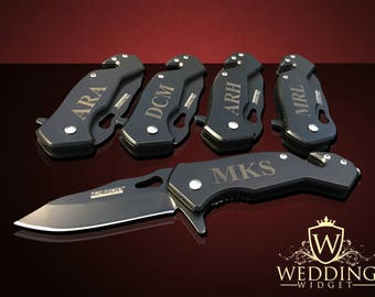 5 Personalized Knifes - 5 Groomsmen & Best Man engraved tactical knife - Wedding and Birthday - Bridesmaid gift set - Father in law gift