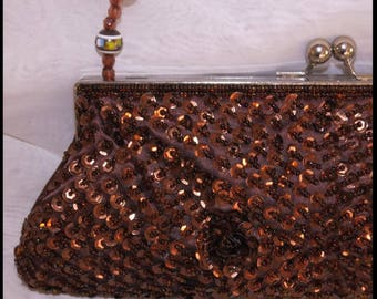 BROWN BEADED CLUTCH Evening Bag, vintage