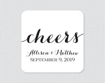 Personalized Wedding Coasters - Black and White Custom Wedding Drink Coasters - Calligraphy Reception Decor, Personalized Coasters 0005