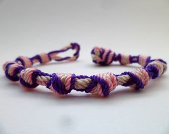 Knotted Nylon Violet Purple, Blush Pink and Ivory Chain Bracelet
