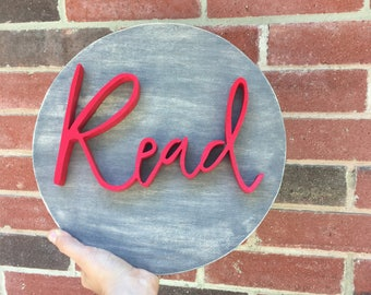 Round Read Sign, Read Sign, Reading Nook Sign