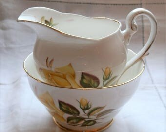 Vintage 1950's Royal Standard SUNSET Pattern Yellow Rose Floral Fine Bone China Milk / Cream Jug and Sugar Bowl, Made in England