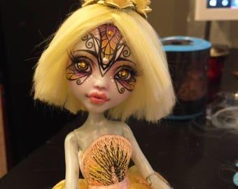 Monster High OOAK Faceup Repaint Doll Yellow Butterfly