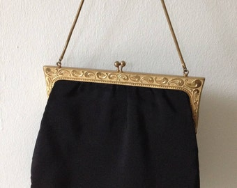 Vintage bag, evening bag, Black Gold, ca. 1920