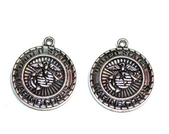 United States Marine Corps Medal Silver Tone U. S. Marine Corps Pendant Round United States Marines Charms Bracelet Charms 2 Pieces