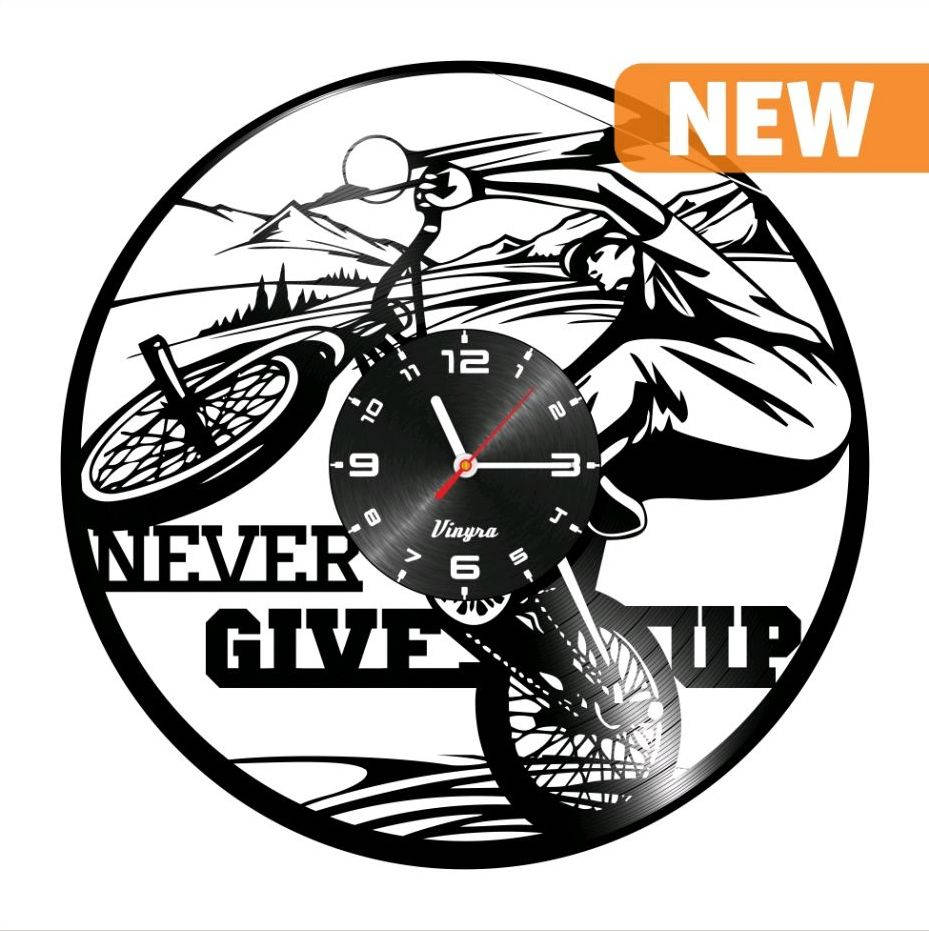 Bmx bike clock vinyl record clock never give up bicycle wall request a custom order and have something made just for you amipublicfo Gallery