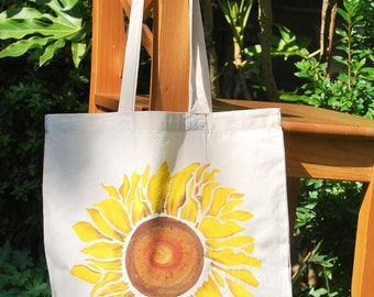 Sunflower tote bag , cotton bag, shopping bag, shopper bag, eco bag, reusable bag, hand painted bag, shoulder bag
