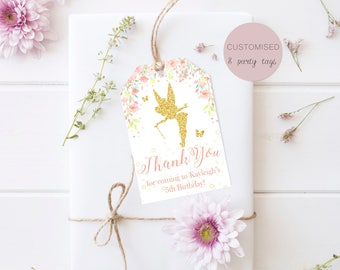 Glitter Fairy Party Favour Favor Tags | Thank You Tags Bag Labels | Personalised Digital Download | Birthday Invite Invitation