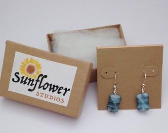 Blue Swirl Glass Bead Earrings, Artsy Blue Earrings