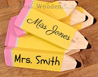 Personalized Teacher Pencil Sign | End of the Year gift | Back to School gift | Teacher Appreciation gift | Christmas present