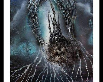 "Spray Paint Art, ""Dark World"", DIN A3, UNIQUE, Spray Paint, Acrylic Painting, Mural, Mystic, Esoteric, Magic, Planet, Universe,Galaxy,Alien,"