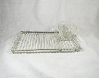 "Vintage Anchor Hocking Glass Berwick Boopie ""Smoke and Sip"" Snack Trays  Set of 4 (8 piece set)"