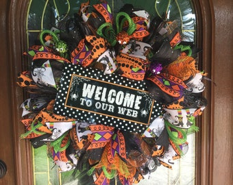 Halloween Deco Mesh Wreath Spiders for Front Door Holiday