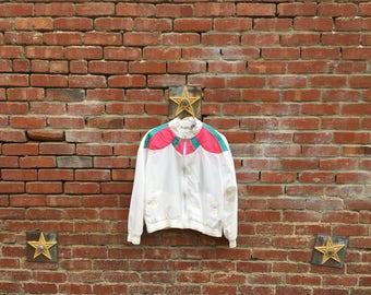 Ice Cream Sundae Jacket  / 80s Colorblock Pink White Teal Lightweight Jacket Windbreaker