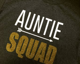Auntie Squad Custom TSHIRT-Charcoal Heather-NEW!-Gold Glitter