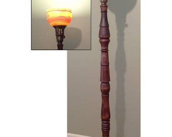 Wooden Torchiere Style Floor Lamp With Translucent Shade