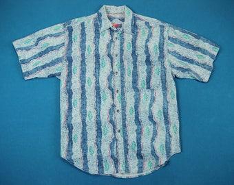 80s Wild Pattern Shirt ~ L // Vintage, Saturdays, Fresh Prince, Surf, All Over, Short Sleeve, Abstract, Vaporwave, Button, Men, Large