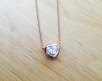 Valentine Valentine's Day heart gold necklace Crystal Love gift for her mom mother sister girlfriend Heart necklace chain Plain Elegant