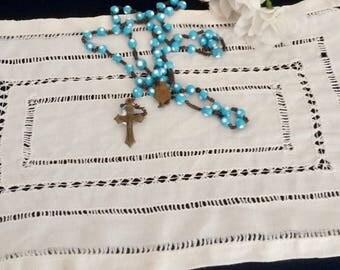 Blue Beaded Rosary, Baby Blue and White, 5 Decade Vintage Rosary, Mary and babyJesus, Catholic Prayer Beads