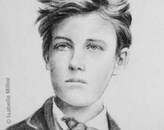 """Arthur Rimbaud Portrait original dessin 30x40 cm 12x16"""""""