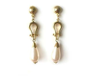 Vintage 1970's White Pearl Gold Oval Dangle Drop Statement Earrings