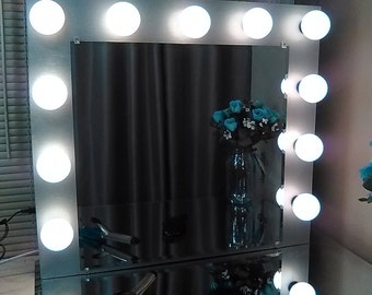 Makeup Mirror with Lights Dimmer switch and electrical outlet Large Silver
