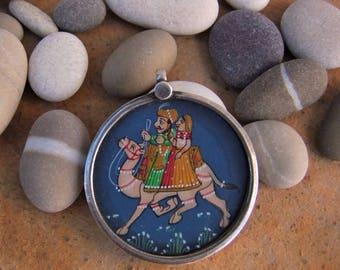 Miniature pendant. Silver pendant with portrait of the kings of Rajasthan. Silver Pendant with miniature of the Kings of Rajasthan.