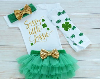 Baby Girl Outfit, Baby Girl St Patricks Day Outfit, St Pattys Girl, My First St Patricks Day, St Patricks Day Outfit, Sassy Little Lassie
