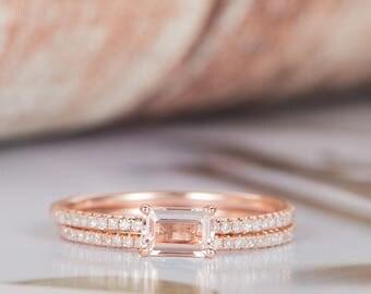 Emerald Cut Morganite Ring Art Deco Engagement Ring Diamond Eternity Wedding Women Antique Rose Gold Dainty Unique Bridal Set