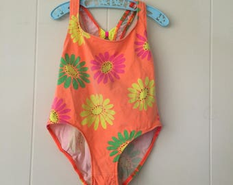 1990's neon orange floral swimsuit with bows - size 10