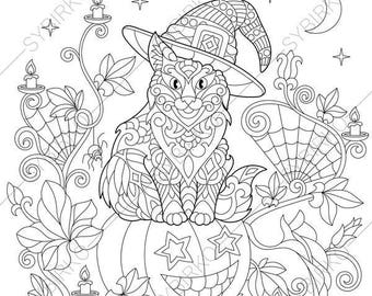 Adult Coloring Pages Halloween Cat Zentangle Doodle Book For Adults Digital