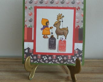 Card - Christmas - merry Christmas - for you darling - girl and deer