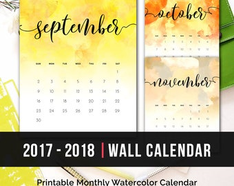 2017 2018 Watercolor Calendar Monthly Printable • 2018 Printable Calendar PDF Wall Calendar Watercolor Monthly Calendar Printable Download