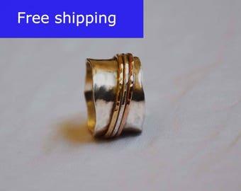 silver spinner ring,925 Sterling silver,Spinner meditation rings for women,Hammered ring,gold filled spinner rings,wide ring,spinning rings
