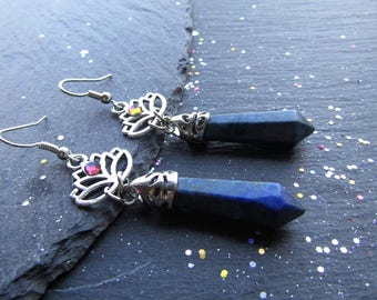 Lapis Lazuli and Lotus Earrings, Lapis Lazuli Earrings, Blue Stone Earrings, Elegant Earrings, Gemstone Earrings, Lotus Earrings, Lotus