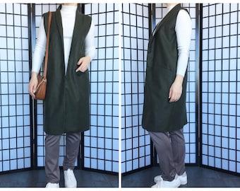 Dark green vest/ Wool vest/ Waistcoat/ Long women vest/ Lagenlook/ Sleeveless jacket/ Sleeveless coat/ Earthy clothing/ Women's clothing