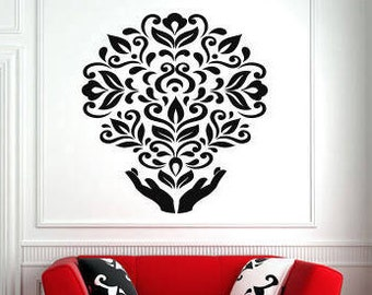 Wall Vinyl Sticker Decals Mural Room Design Pattern Art Flowers Hands Protection Support Life Live 503